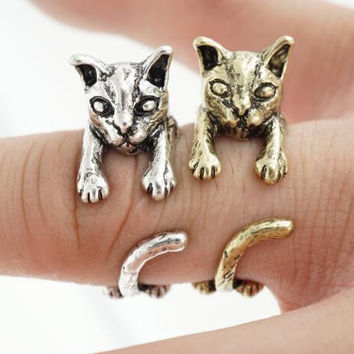 2016 Antique Silver and Bronze Cat Ring Anel Anillos Gato Bague Knuckle Retro Fashion Adjustable Animal Ring R317