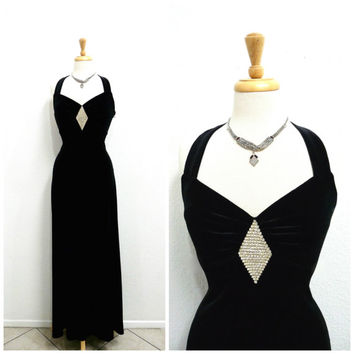 Vintage Black Velvet Dress Sweetheart  Rhinestone Maxi dress Prom Evening Cocktail Party Gown Small