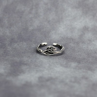 The wind restoring ancient ways Thai silver leaves S925 opening ring