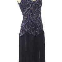 1920s Style Beaded Black Fringe Jazz Baby Flapper Dress-20s Insired Dresses