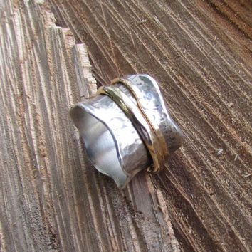 Silver Spinner Ring with Two Bands