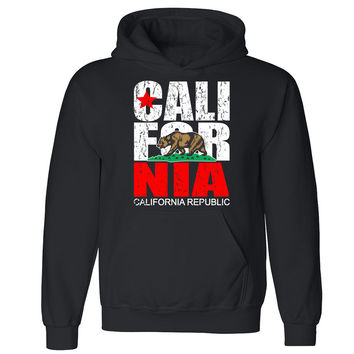 Zexpa Apparel™ Distressed California Republic Unisex Hoodie Cali Life Bear Hooded Sweatshirt