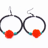 Sugar Skulls Black Day of the Dead Loop Earrings