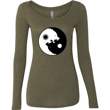 Yoga Clothing For You Yin Yang Wolves Triblend Long Sleeve Yoga Tee Shirt