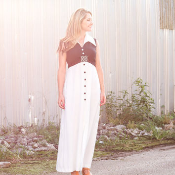 vintage black and white maxi dress / 1970s maxi dress 60s maxi dress black dress white collar empire waist maxi dress sleeveless maxi dress