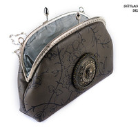 Grey leather handbag with Valkyrie / Little women frame handbag with chain / Evening handbag /  formal clutch/ Beaded IPhone Pouch