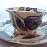 Rare Emma Bridgewater Blue Tulip TeaCup and Saucer Retired Discontinued Tea Cup