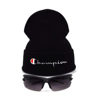 Perfect Champion Women Men Embroidery Beanies Winter Warm Knit Hat Cap