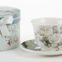 Gift Boxed Tea Cup (Teacup) & Saucer - Blue Camellia