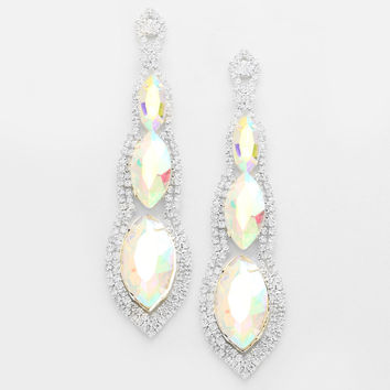 """"""" Abyss"""" Triple Drop Iridescent AB Crystal Chandelier Earrings Silver Tone"""