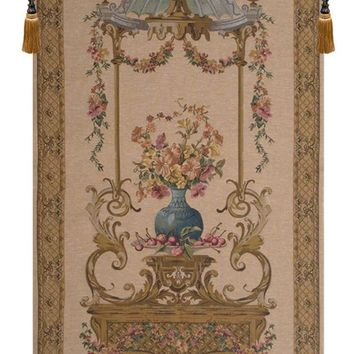 Floral Vase in a Gazebo European Tapestry