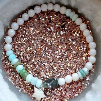 Anxiety Protection,Unique, one of a kind,stretchy gemstone healing bracelet, protection spell, Peruvian Opal, Calcite, Star, Apatite, Silver