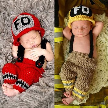 THINKTHENDO Newborn Baby Girls Boys Crochet Knit Hat Firemen Photo Photography Prop Outfits