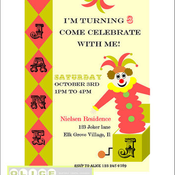 Vintage Clown invitation, clown birthday party, jack in the box invitation, Vintage clown, Vintage invitation,, includes free thank you card