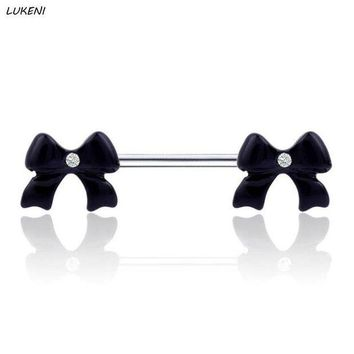 ac PEAPO2Q 1 Pcs/set High Grade Fashion Black Bow Rings Bowknot Shield Sexy Body Piercing Jewelry Rings Body Jewelry