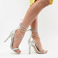 Missguided Lace Up Barely There Heeled Sandals at asos.com