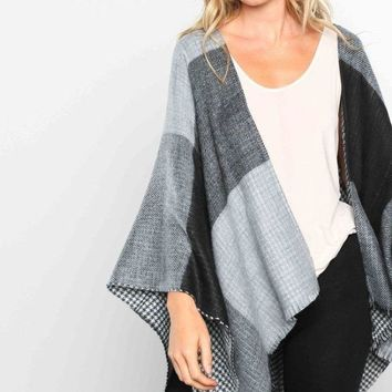 Miles Reversible Houndstooth Poncho