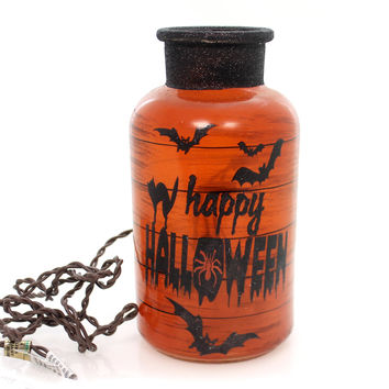 Stony Creek HALLOWEEN LIT JAR Glass Bats Spiders Haunted Hlw7219 Cat