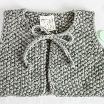 Baby winter vest, hand knitted short baby vest. Cute baby vest, perfect baby coming home outfit