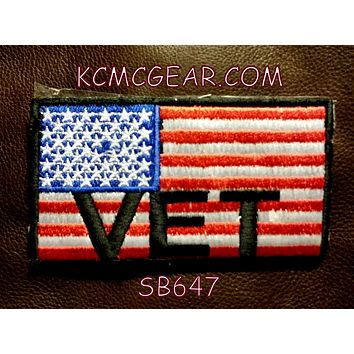 USA FLAG VET Small Patch Iron on for Vest Jacket SB647
