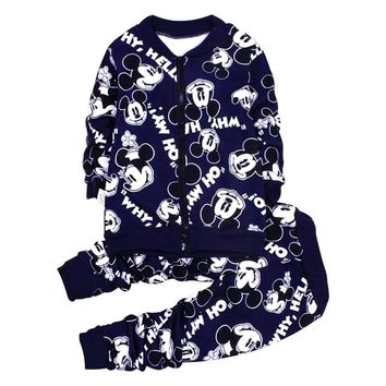 Winter Mickey Baby Boys Clothing Sets Minnie Thick Jacket Sweatshirt Pant 2psc Girls Sports Suit Casual Outfit Baby Kid Clothing