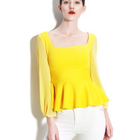 Long Sleeve Chiffon Skater Top