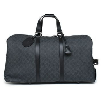 Gucci Duffle Luggage GG Supreme Carry On Bag Black Signature GG Leather New