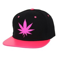 Gk Collection Unisex Neon Colored Rim Custom Made Fashion Snapback with Marijuana Print One Size Neon Pink