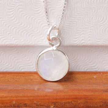 Rainbow moonstone necklace, sterling silver with genuine gemstone, June birthstone, June birthday gift, bezel gem, white necklace, box chain
