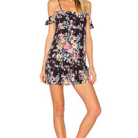 AUGUSTE Beach House Strappy Mini Dress in Bambi Bloom Black