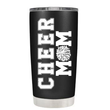 Pom Pom Cheer Mom on Black 20 oz Tumbler Cup