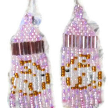 Easter Bunny Seed Bead Earrings Dangle Earrings