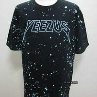 New Speckle Graphic Tour Back Yeezus Print Crew Short Sleeve T-Shirts Black