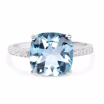 SALE  A Vintage 5.33CT Cushion Cut Genuine Blue Aquamarine & White Topaz Engagement Ring