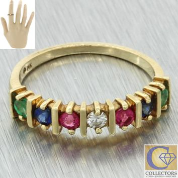 Vintage Estate 14k Yellow Gold .50ct Sapphire Ruby Diamond 4mm Wide Band Ring