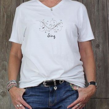 Cute New Sing Tee Shirt L XL size Vneck White Blue Birds Womens Fruit of Loom