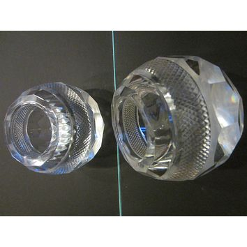 Thomas Webb Attributed Striker Crystal Globe Match Holders Candle Holders