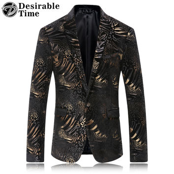 Mens Slim Fit Leopard Print Blazer Jacket 2017 New Arrivals Fashion Casual Stylish Velvet Blazers For Men DT377