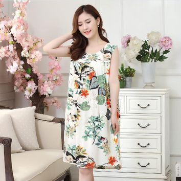 Free Shipping Summer cotton ladies plus size sleepwear women's nightdresses comfortable cotton nightgowns print nightshirts