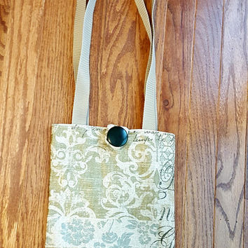 Linen Look Handbag Purse Ecru Olive Green Gray Blue