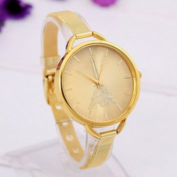 Women's Fashion Stylish Gold Tone Eiffel Tower Quartz Watch Ladies