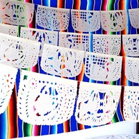 White Mexican Banner 60 Feet Long, Wedding, Bridal or Engagement Papel picado WS700