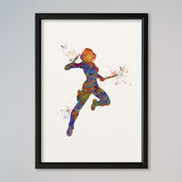 Black Widow Poster Watercolor Print Marvel Comics The Avengers Assemble Special Agent of S.H.I.E.L.D.