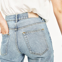 HIGH RISE JEANS WITH RIPS Mid-blue - 28 (US 6)