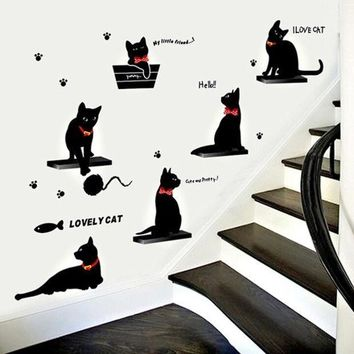 Fashionable Living Room Bedroom Background Decoration Cartoon Black Cat Family Wall Stickers Photo Color Hg Ws 1807