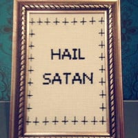MADE TO ORDER: Hail Satan- Finished and framed cross stitch