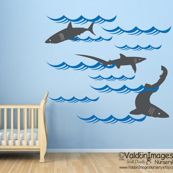 Sharks Nursery Wall Decal, Ocean Wall Decal, Nautical Wall Decal, Sea Wall  Decal