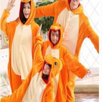 free pp Pokemon Charmander Cosplay Jumpsuit Costume For Adult Children Kids Onesuit Clothing For Halloween Carnival
