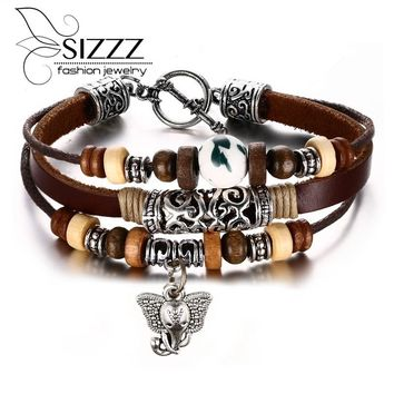 New Teen Wolf Triskele  Hemp Adjustable  Genuine Leather Charm Bracelets for Women  and Men
