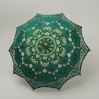 Topwedding Pure Cotton Embroidery Wedding Umbrella, Dark Green
